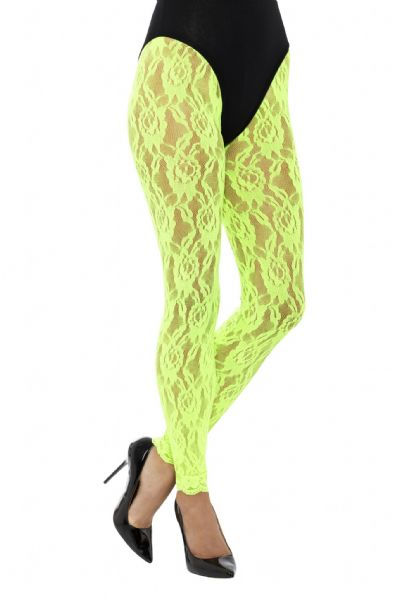 80s Lace Neon  Leggings - Green